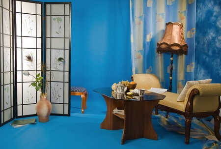 Refined boudoir interior in the blue colors  photo