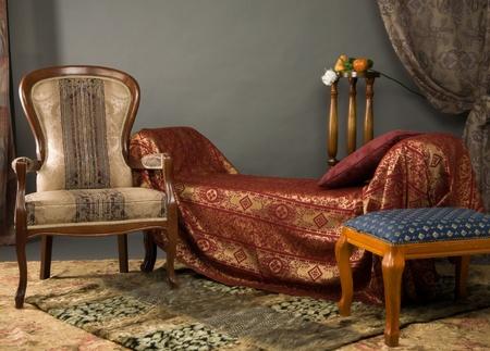 Luxurios interior of the boudoir in the aristocratic style photo