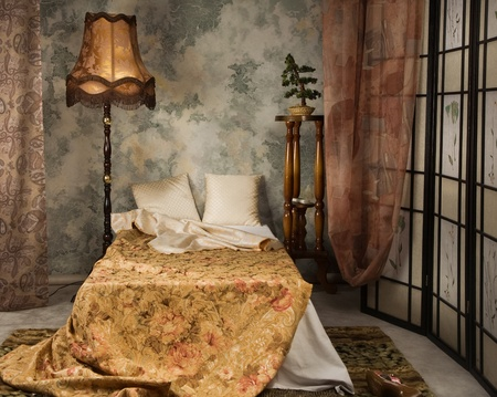 Elegant bedroom interior in the vintage style photo