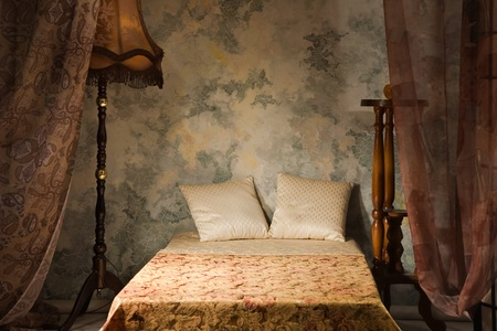 Refined bedroom interior in the vintage style photo