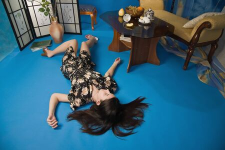 Sensuality brunette lying on the floor in a luxury room Stock Photo - 9201885