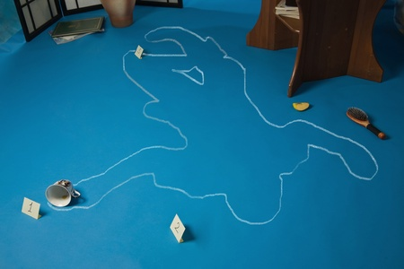 robbed: Crime scene with the silhouette of the victim circle