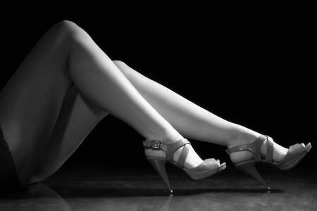 Beautiful wet feet, women legs (black and white) photo