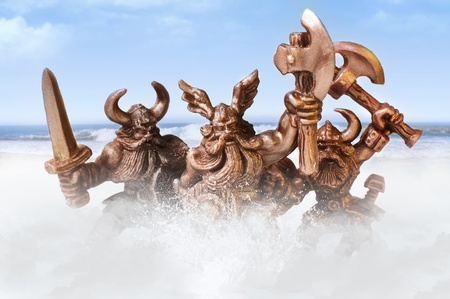 Angry viking warriors on a ocean background photo