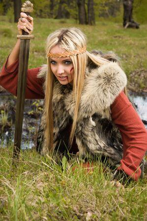 karoling: Viking girl warrior with sword fighted