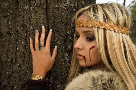 scandinavian girl: Portrait of the blonde girl in the Scandinavian suit