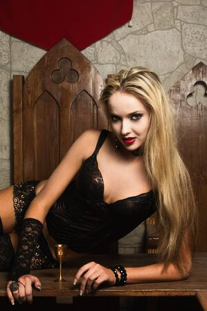 Portrait of the very pretty woman vamp photo