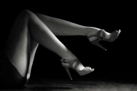 Beautiful wet feet, women legs (black and white) Stock Photo - 9780700