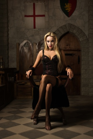 Portrait of the very pretty woman vamp  Stock Photo