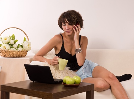 Beautiful young woman relaxing on sofa with laptop and a cup of tea Stock Photo - 9904068