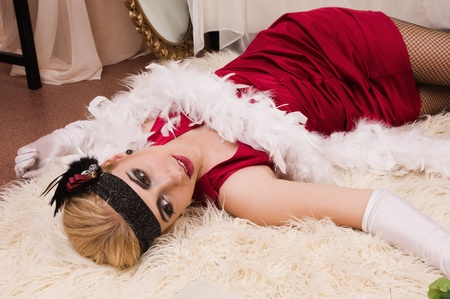 Crime scene in a retro style. Dead woman lying on the floor Stock Photo - 10241210