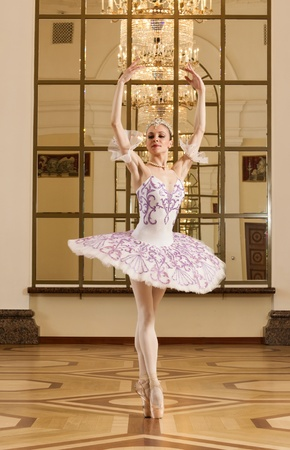 Portrait of the ballerina in ballet pose 스톡 콘텐츠