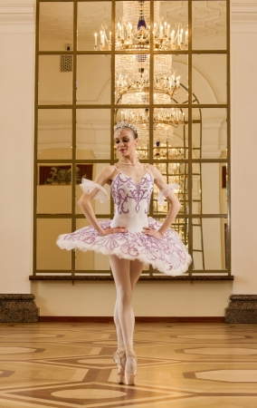 Portrait of the ballerina in ballet pose photo
