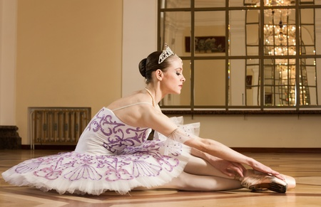 Portrait of the ballerina in ballet pose Stock Photo
