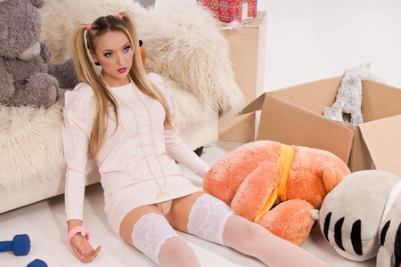 Pretty blonde dressed up as a doll Stock Photo - 10632043