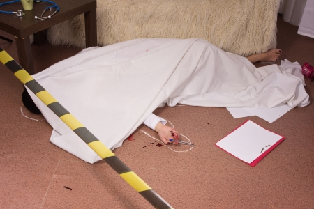 Crime scene simulation: victim lying on the floor Stock Photo - 11010217