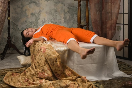 Crime scene simulation: victim lying on the bed Stock Photo - 11010158