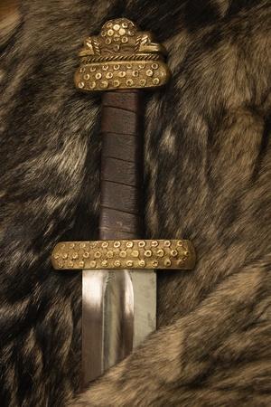 vikingo: Naturaleza muerta con espada antigua escandinava en la piel Foto de archivo