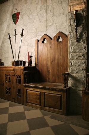 Foto van de middeleeuwse kruisvaarders kasteel interieur