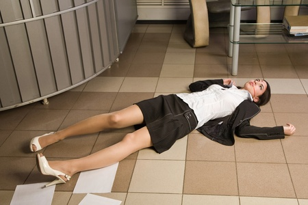 senseless: Crime scene in a office with dead secretary Stock Photo