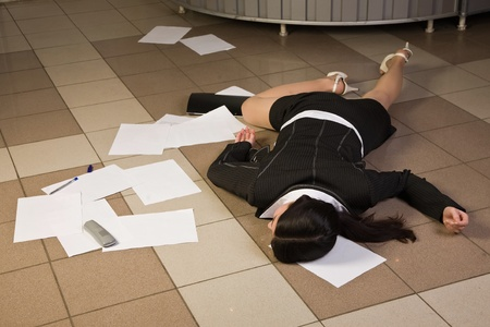 Crime scene in a office with dead secretary 스톡 콘텐츠