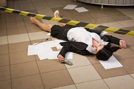 Crime scene in a office with dead secretary Stock Photo