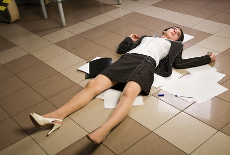 Crime scene in a office with dead secretary   photo