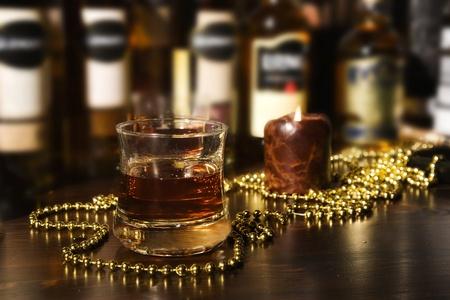 Old fashion whiskey on the rocks  Stock Photo