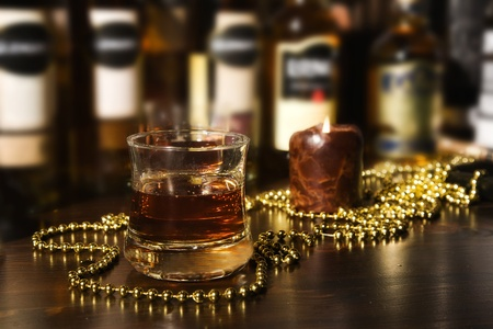 scotch: Old fashion whiskey on the rocks     Stock Photo