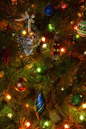 Close up pictures of the Christmas tree with ornaments photo