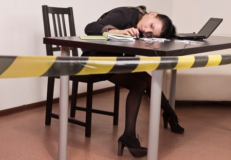 Crime scene simulation: dead secretary in a office Stock Photo - 12542401