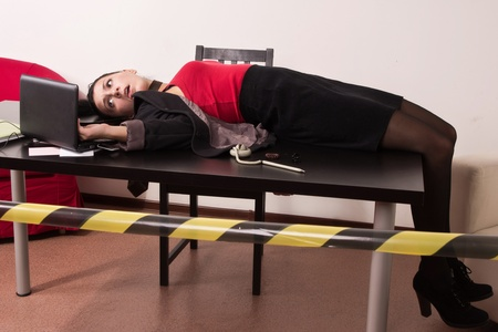strangulation: Crime scene simulation: dead secretary in a office
