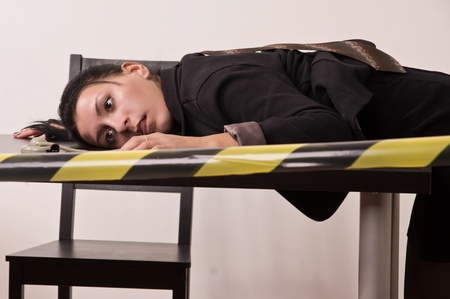 strangulation: Crime scene simulation  dead secretary in a office