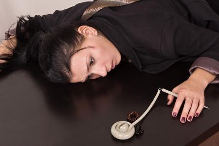 Crime scene simulation  dead secretary in a office