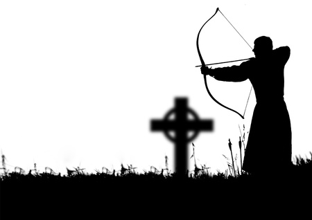 Silhouette of a monk shooting of a long bow photo
