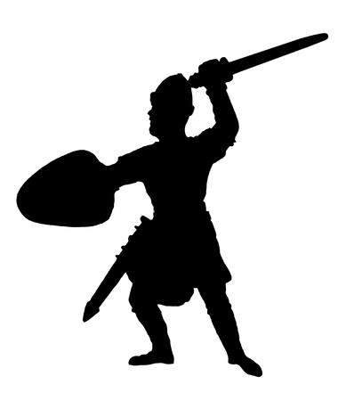feudal: Silhouette of medieval knight of St. John (Hospitaller) with a sword Stock Photo