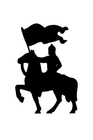 hauberk: Silhouette of medieval knight on a horse with a banner   Stock Photo