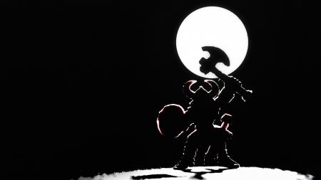 vikings: Silhouette de guerrier viking sur un fond de lune Banque d'images