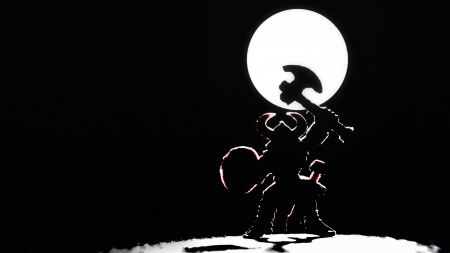 Vikings: Silhouette of viking warrior on a moon background Stock Photo