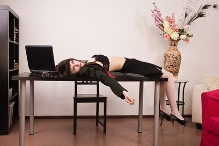 strangulation: Crime scene imitation. Lifeless secretary in a office Stock Photo