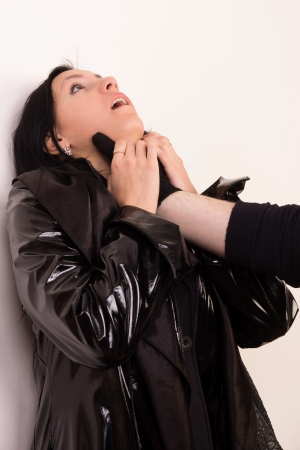 Crime scene imitation. Killer attacked innocence woman Stock Photo - 13761569