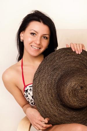 Portrait of the pretty woman in bikini photo