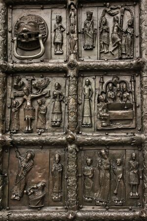 11th century: Reliefs on the gate of St. Sophia Cathedral (Novgorod, Kremlin). 11th century  Stock Photo