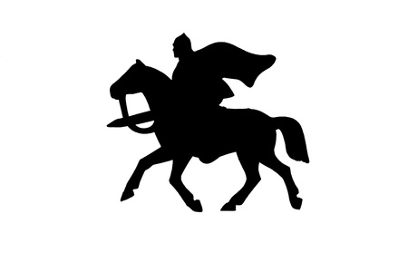Silhouette of medieval knight on a horse with a sword Stock Photo - 15352375