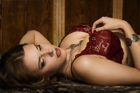 Portrait of the sexy woman in a medieval castle interior Stock Photo - 16382586