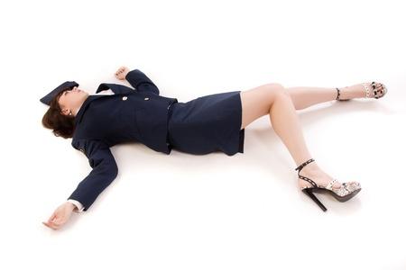 killings: Crime scene imitation. Woman officer lying on a floor