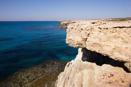 Sea landscape with rock. Agia Napa,Cyprus. photo