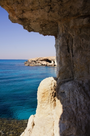 Sea caves near Cape Greko. Mediterranean Sea, Cyprus photo