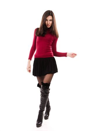 Fashionable casual girl over white photo