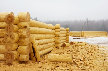Building a new log cabins  in a village photo